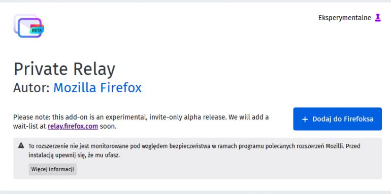 Firefox Private Relay - generator adresów e-mail w przeglądarce