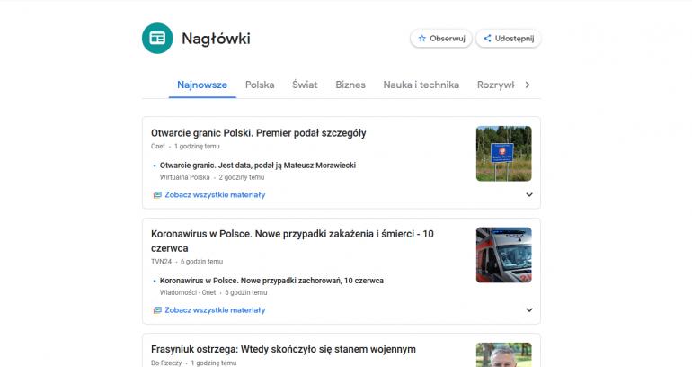Wiadomości Google w aplikacji i przeglądarce - jak włączyć, jak korzystać?