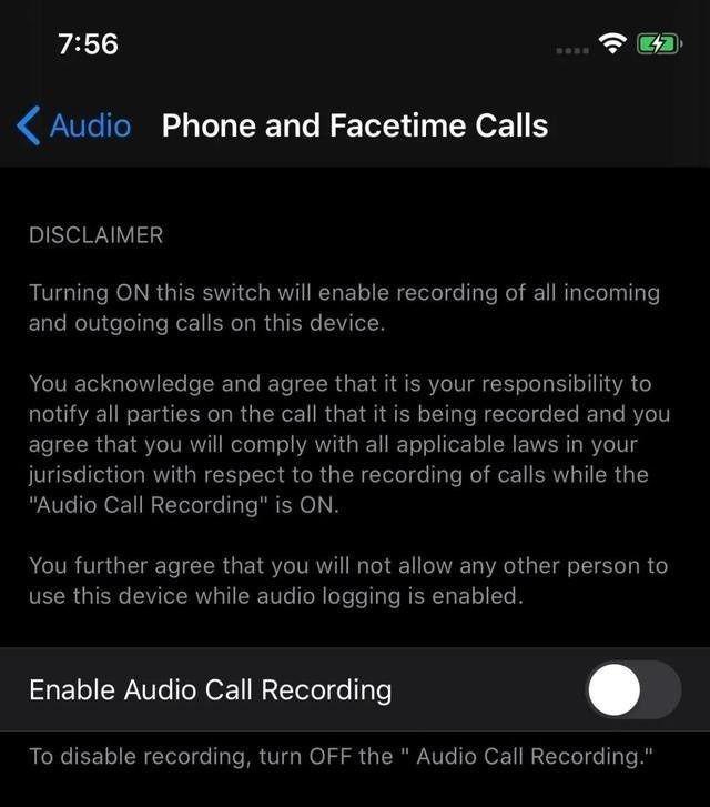 Zrzut ekranu przedstawiający opcje nagrywania rozmów w iOS