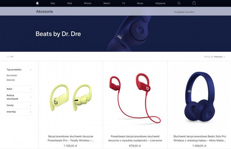 Ceny słuchawek Beats w Apple Store