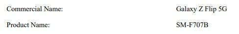 Zgłoszenie certyfikacyjne Samsunga Galaxy Z Flip 5G