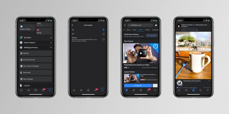 Tryb ciemny w aplikacji Facebook na iOS