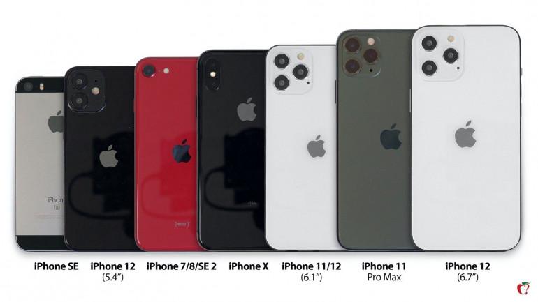 iPhone 12 na tle poprzedników  Źródło: MacRumors.com