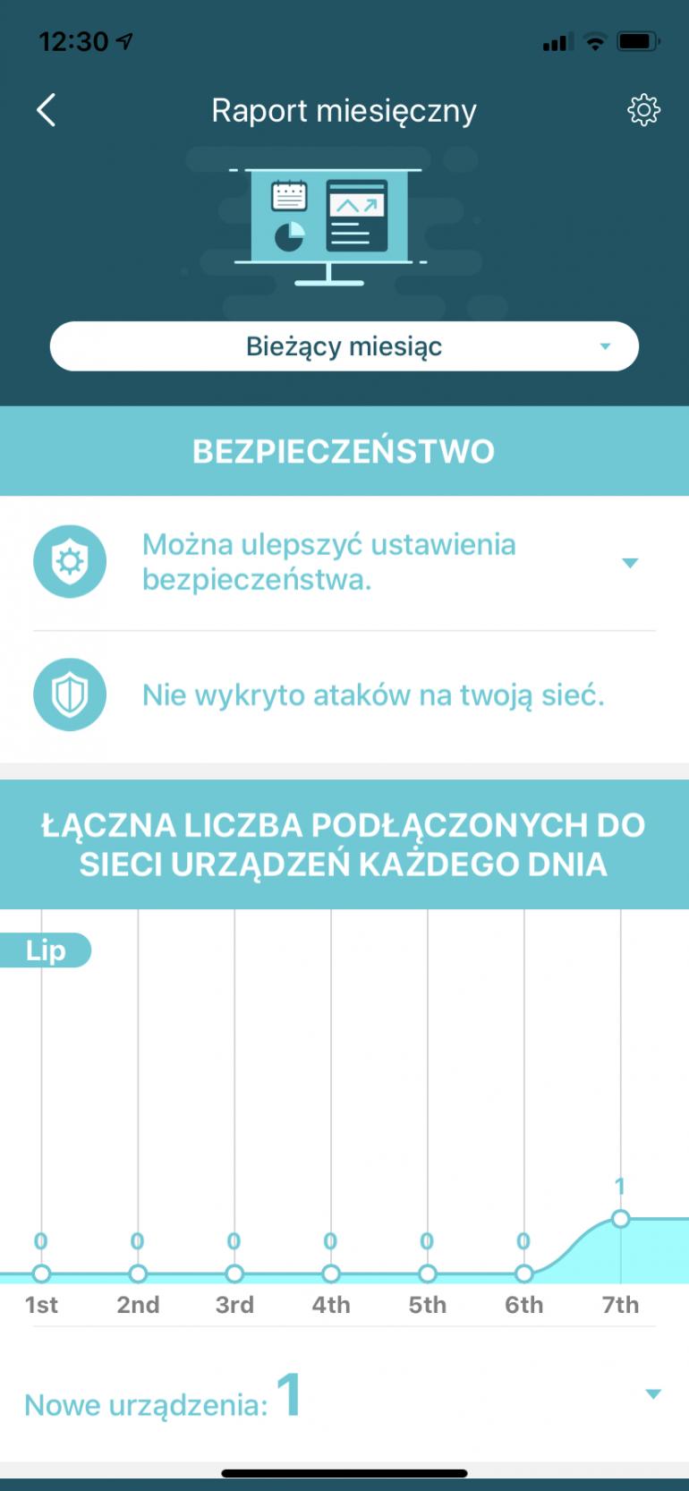 Raport miesięczny w aplikacji mobilnej Deco