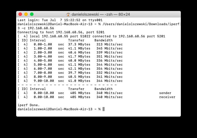 iPerf 3 - klient oraz serwer połączone za pośrednictwem Wi-Fi