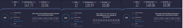 Test prędkości połączenia z wykorzystaniem portów LAN w każdym z Deco X60