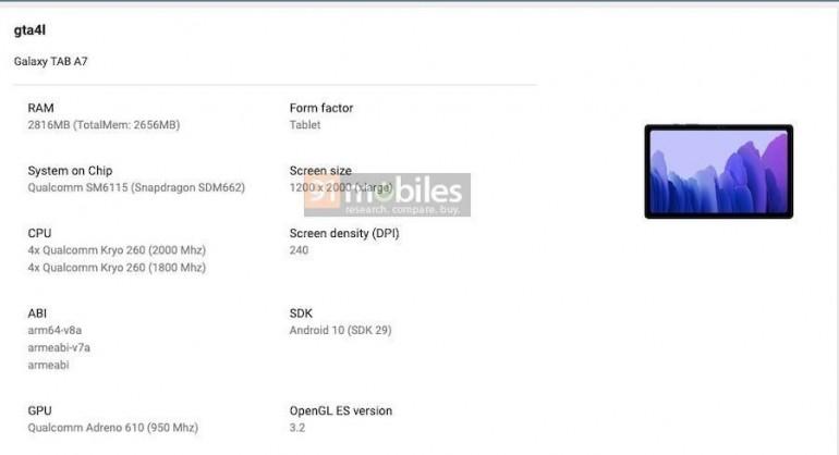 Specyfikacja Samsunga Galaxy Tab A7 2020 Źródło: 91mobiles.com