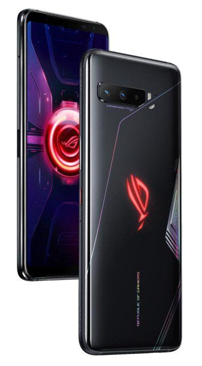 ASUS ROG Phone 3 Strix - na pleckach widoczne podświetlone logo ROG