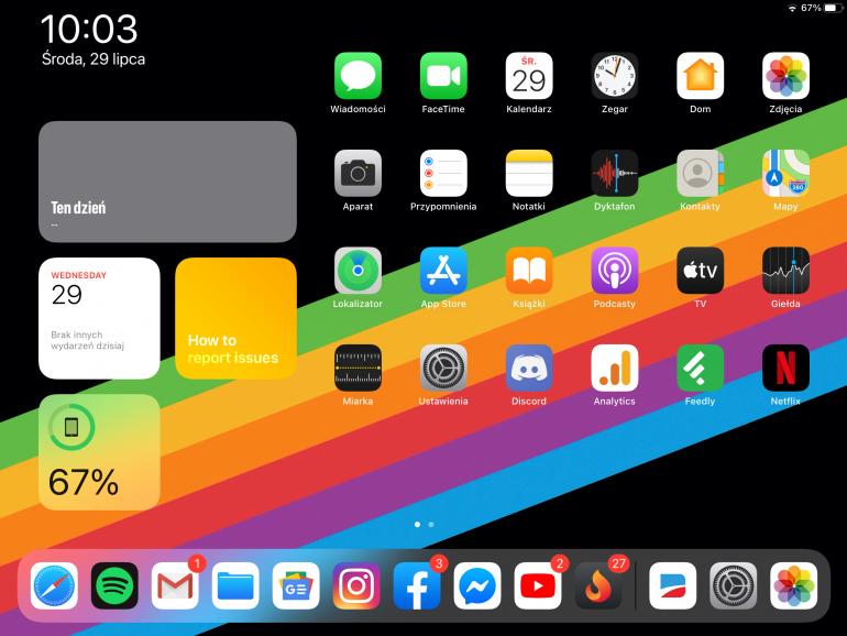 Ekran główny iPadOS 14 w wersji beta