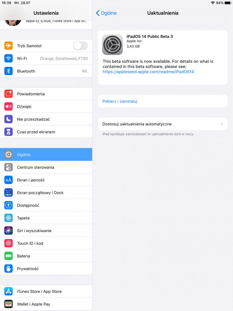 iPad sygnalizujący dostępność aktualizacji systemu do wersji beta