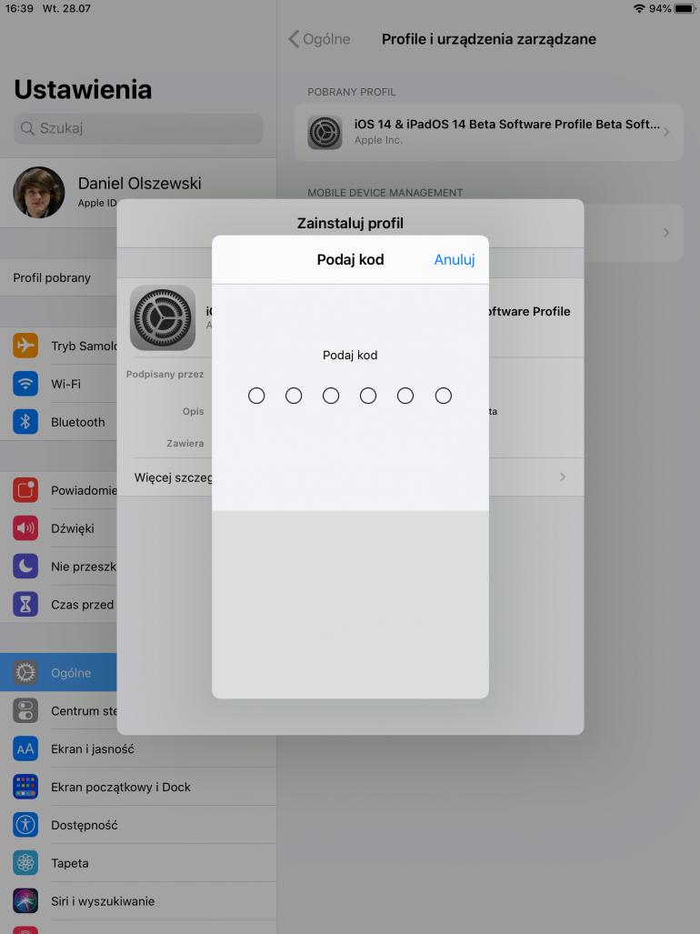 Hasło niezbędne do instalacji profilu