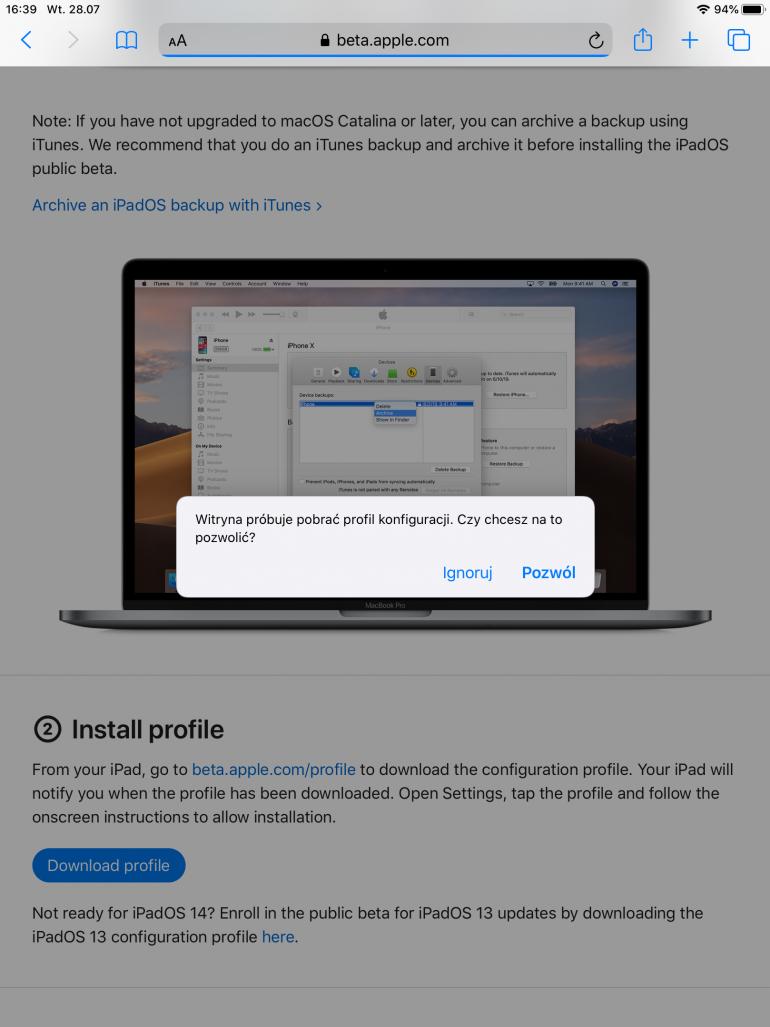 Pobieranie profilu z witryny beta.apple.com