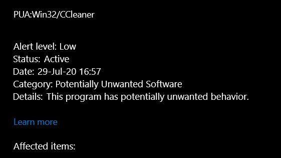 Windows 10 Defender: CCleaner oflagowany jako potencjalne zagrożenie