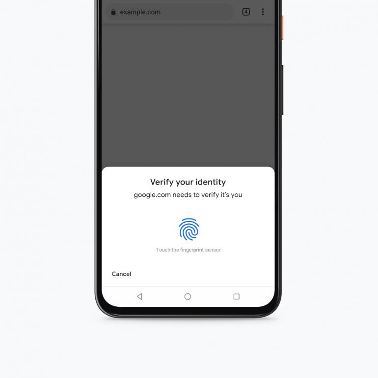 Uwierzytelnianie biometryczne w Chrome Źródło: 9to5google.com