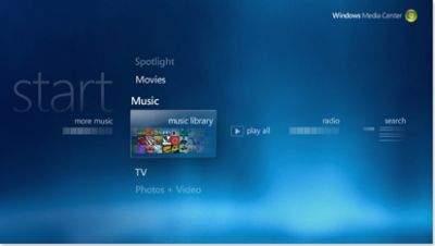 Aplikacja Windows Media Center w porównaniu do starszej wersji z systemu Windows XP Media Center Edition ma odświeżony interfejs graficzny. Poprawiono również funkcjonalność programu. Teraz jest łatwiejszy w obsłudze.
