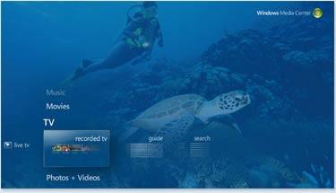 Menu programu Windows Media Center może zostać wyświetlone na odtwarzanym obrazie. Bez konieczności przerywania oglądania programu telewizyjnego lub filmu możemy sterować funkcjami programu.