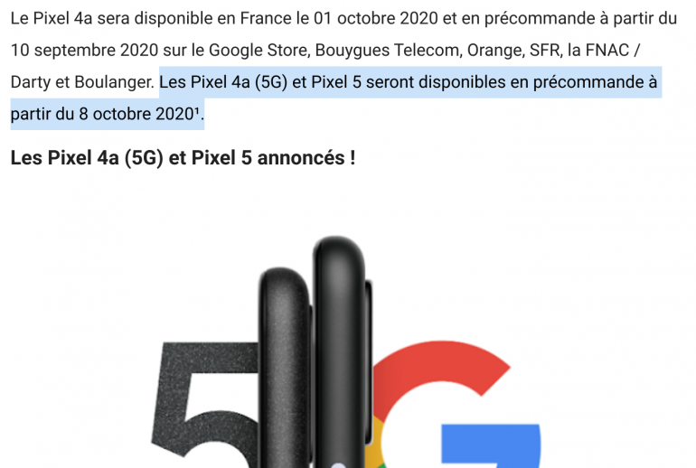 Data premiery Google Pixel 5