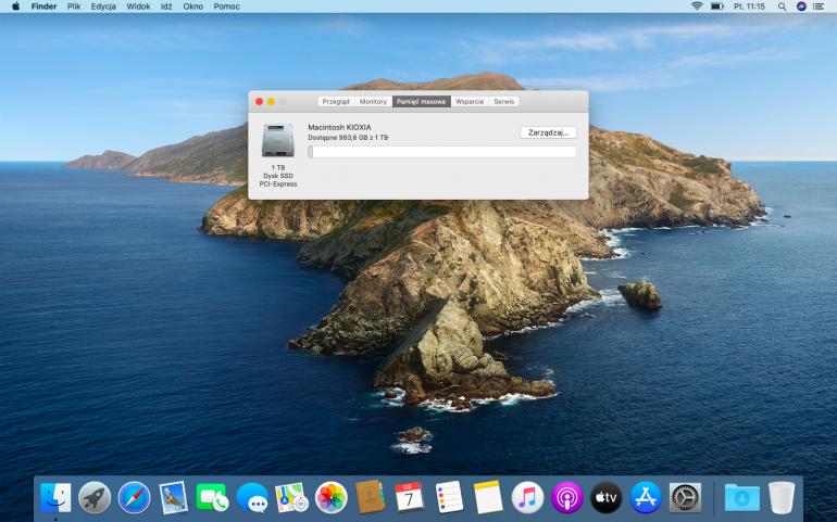 System macOS zainstalowany na wymienionym dysku