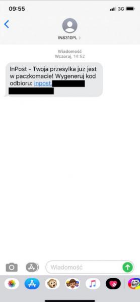 Tak może wyglądać wiadomość SMS od przestępców podszywających się pod InPost