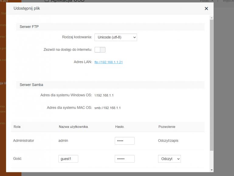 Ustawienia udostępniania plików z wykorzystaniem wbudowanego portu USB