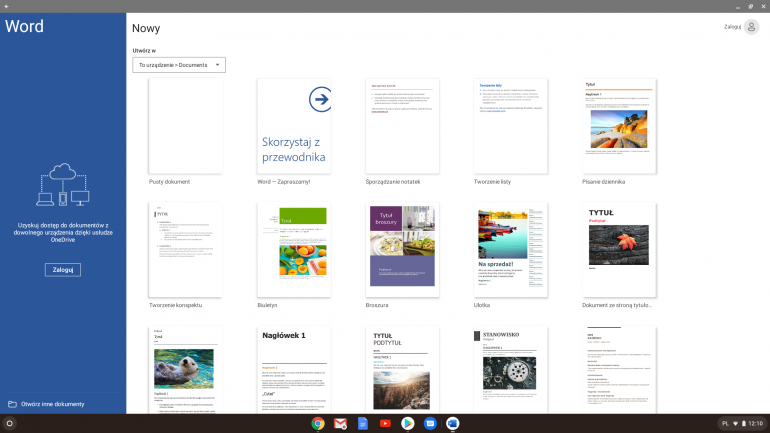 Word na Androida uruchomiony na Chromebooku