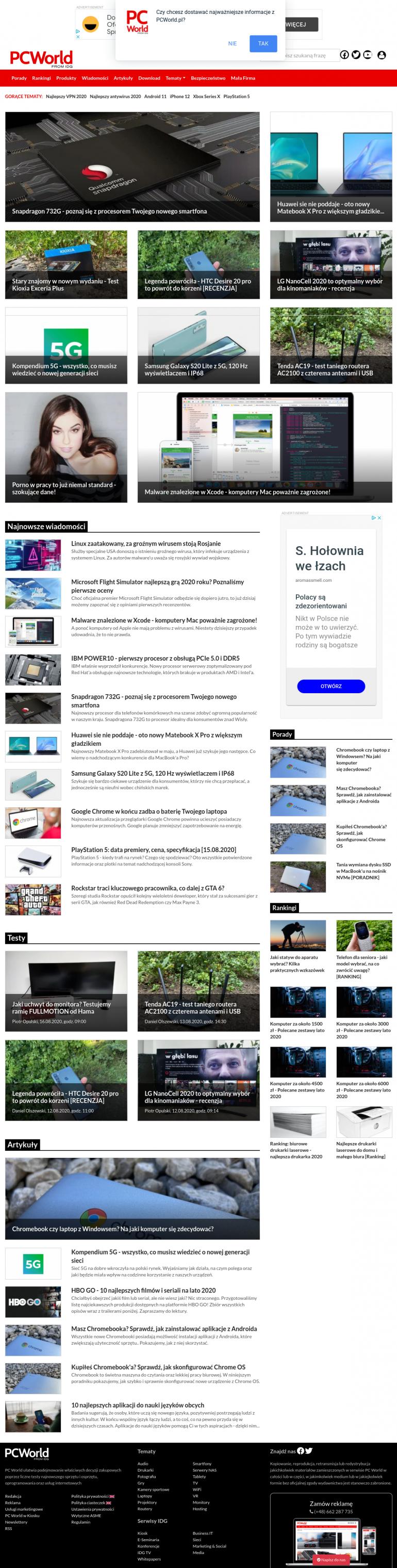 Zrzut witryny PCWorld wykonany za pomocą rozszerzenia Nimbus