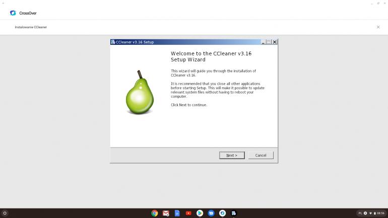 Instalator CCleaner. Widoczny layout Windowsa XP