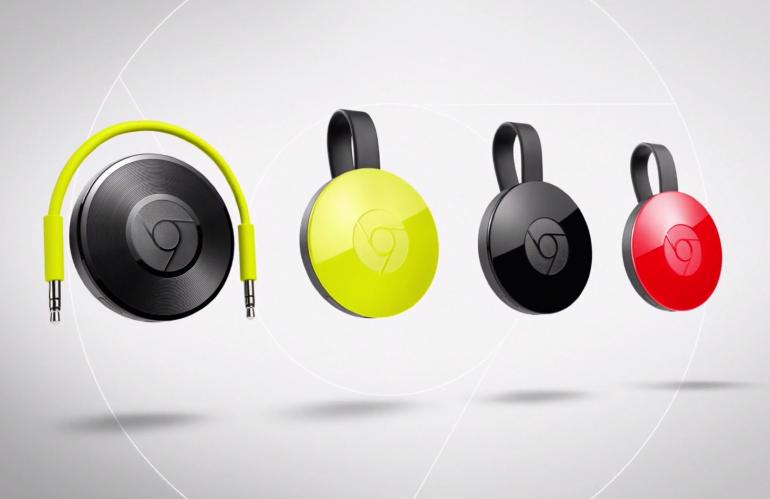 Chromecast Audio i Chromecast drugiej generacji w różnych wersjach kolorystycznych