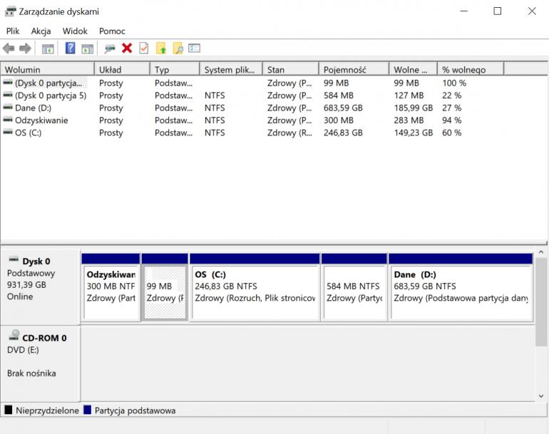 """""""Zarządzanie dyskami"""" w Windows 10"""