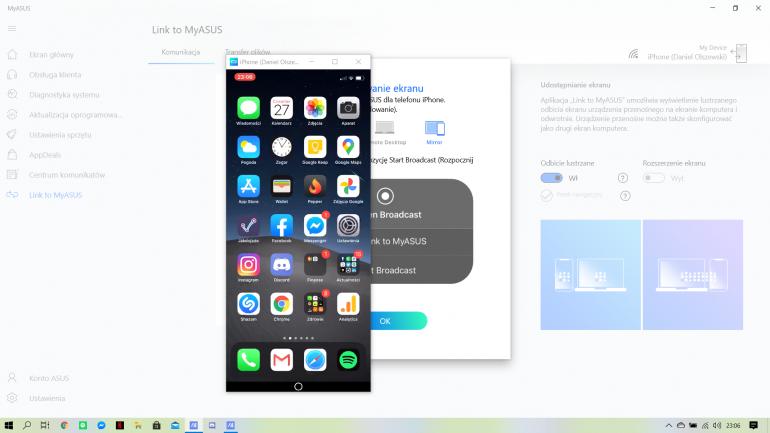 Udostępnianie ekranu z iPhone w MyASUS