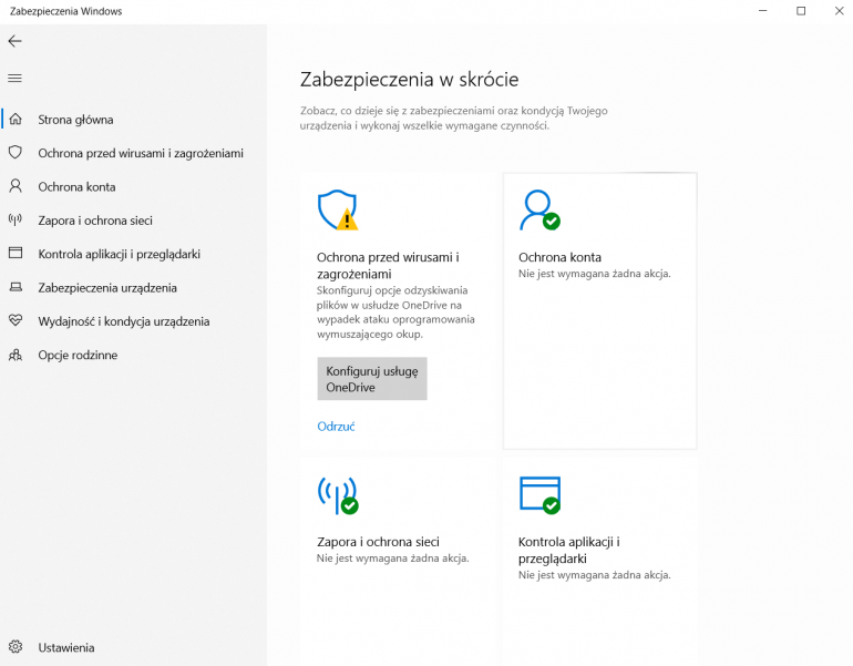 Windows Defender w najnowszej wersji Windowsa 10