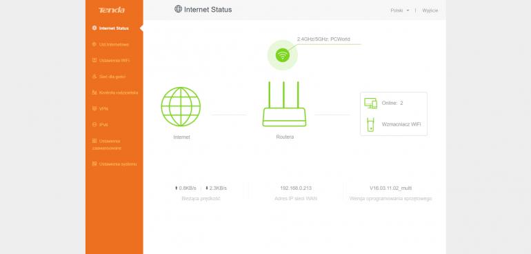 Domyślna strona interfejsu webowego