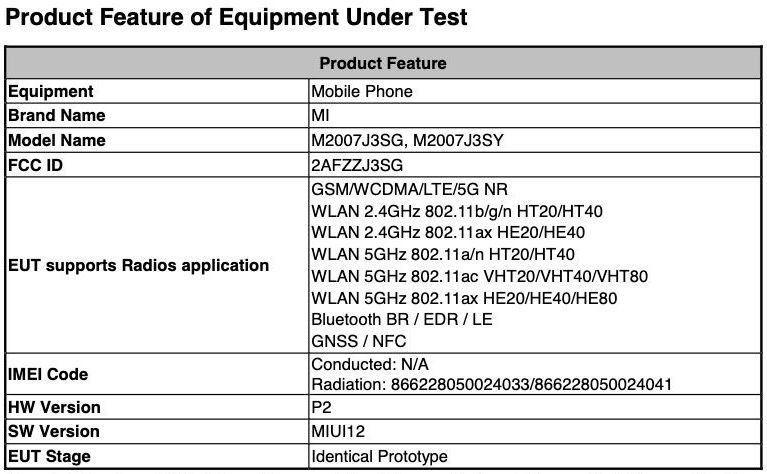 Część certyfikatu FCC dla Mi 10T Pro