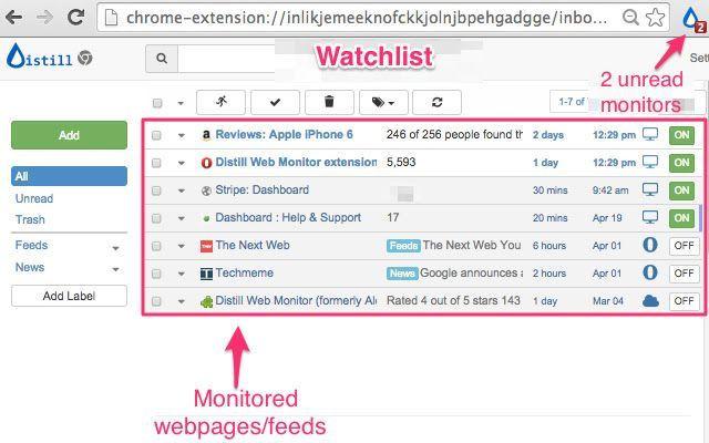 distill web monitor