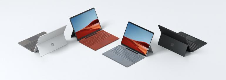 Surface Pro X w różnych wariantach kolorystycznych