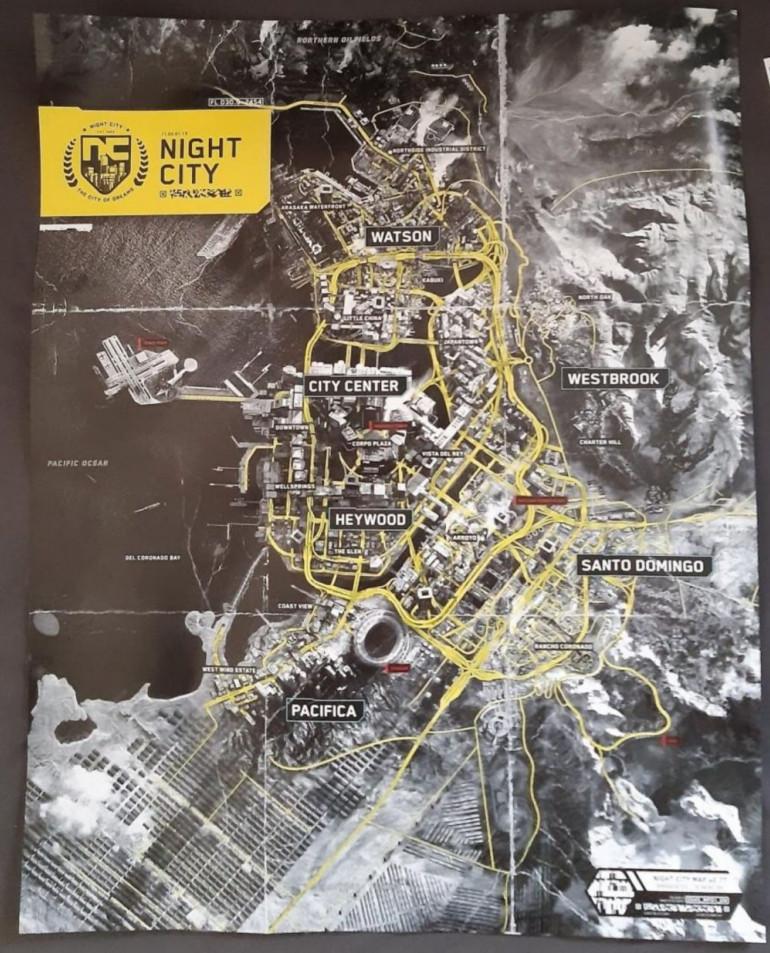 Cyberpunk 2077 - mapa Night City w pełnym wydaniu