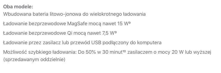 Specyfikacja systemów ładowania w nowych modelach iPhone'a