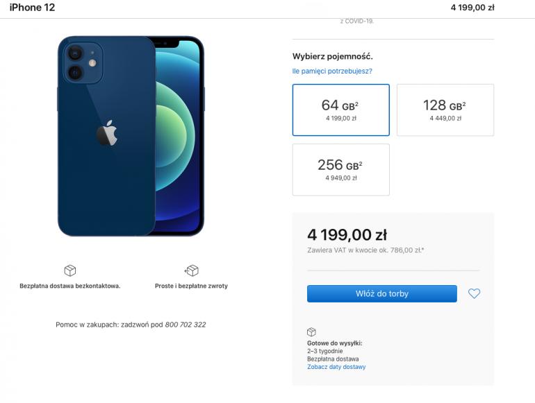 Czas oczekiwania na niebieskiego iPhone 12 w wersji z 64 GB nośnikiem danych