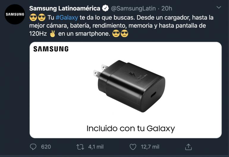 Wpis Samsunga z mediów społecznościowych