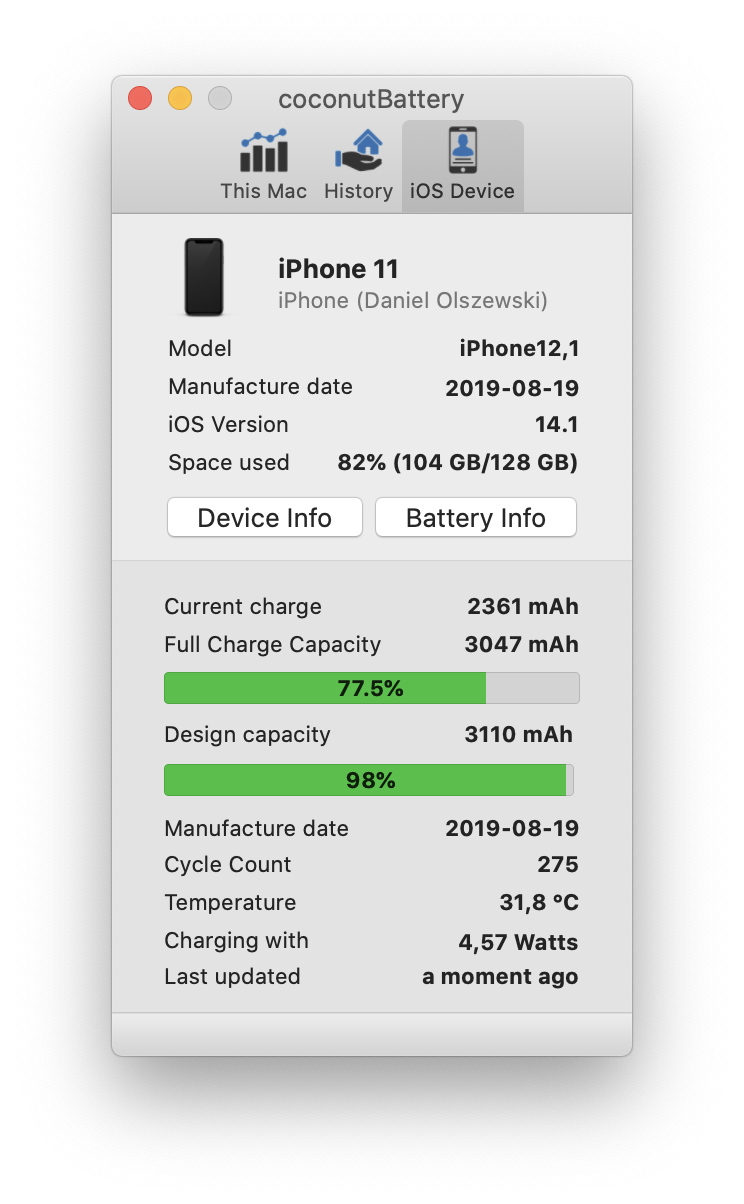 coconutBattery iPhone 11