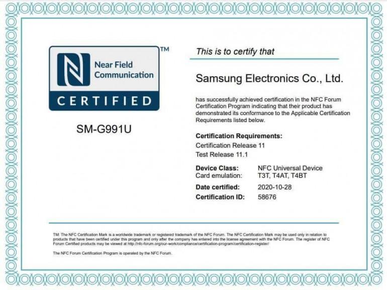 Certyfikat NFC dla SM-G991U Źródło: gizchina.com
