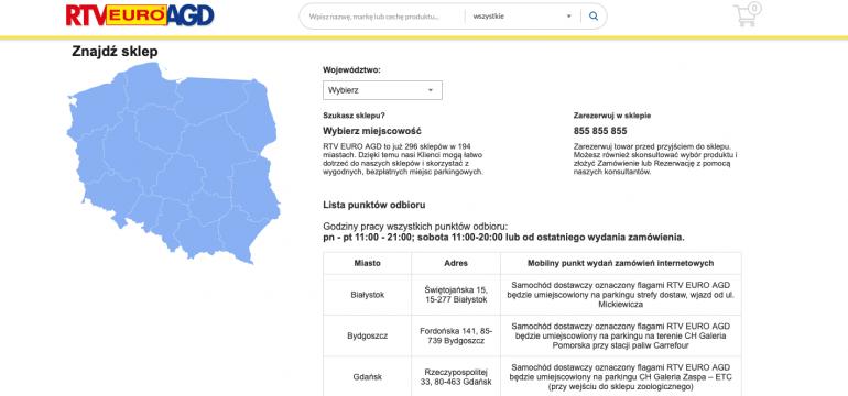 Mapa sklepów RTV Euro AGD