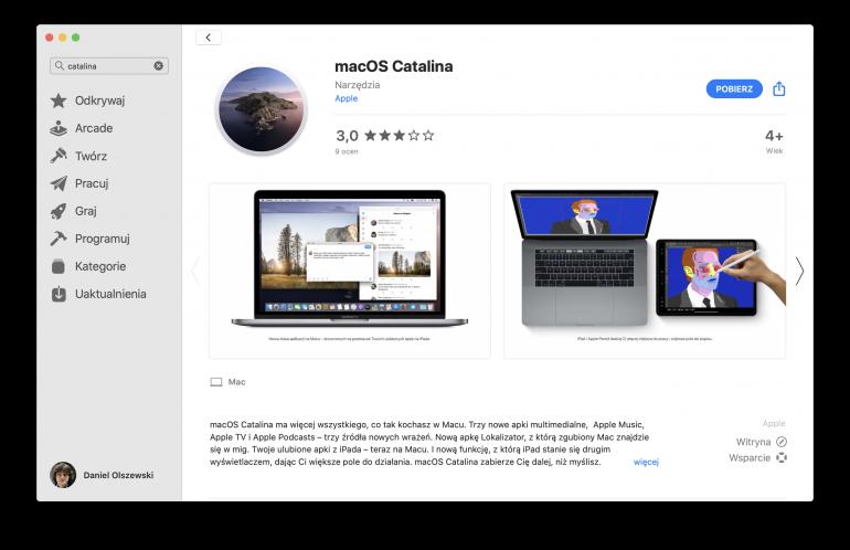 macOS Catalina w App Store