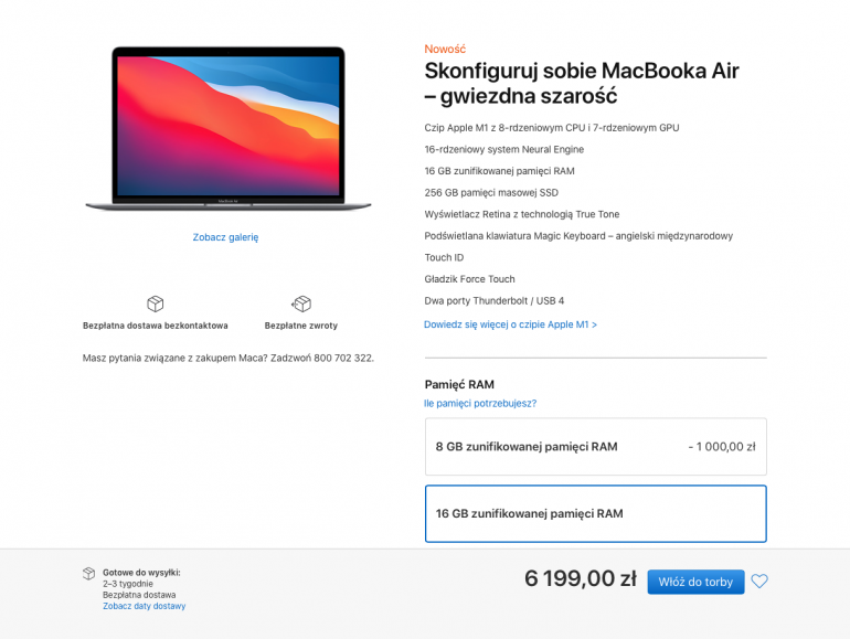 MacBook Air w wersji CTO