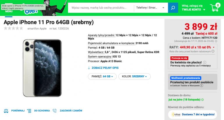 iPhone 11 Pro 64 GB w promocji