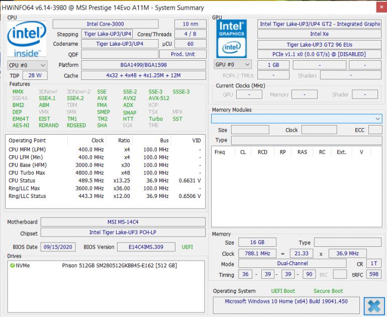 HWiNFO nie jest w stanie zidentyfikować procesora z rodziny Tiger Lake