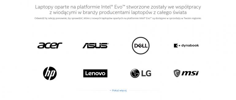 Producenci laptopów z certyfikacją Intel Evo