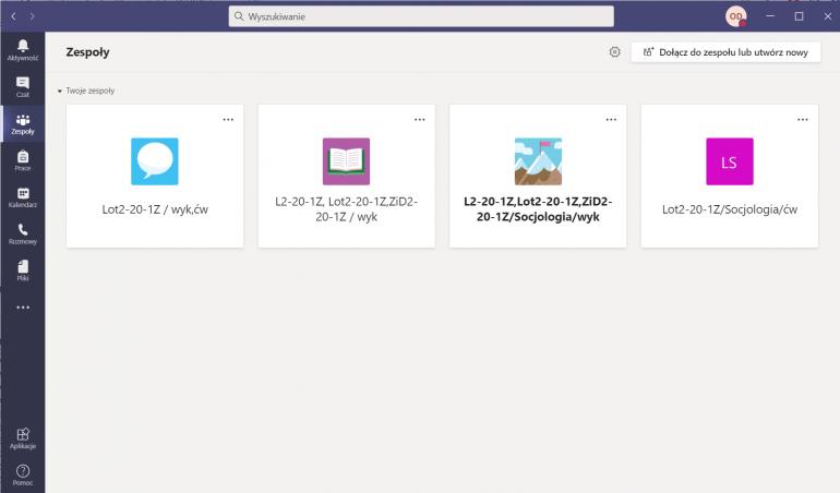 Ekran domowy Microsoft Teams na komputerze z Windows 10