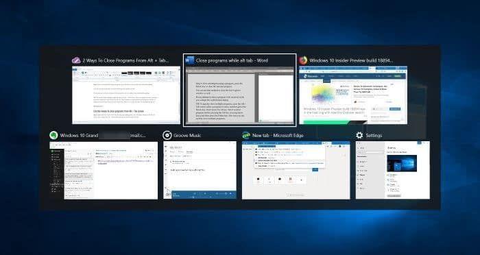 Alt + Tab, Windows 10, Multitasking