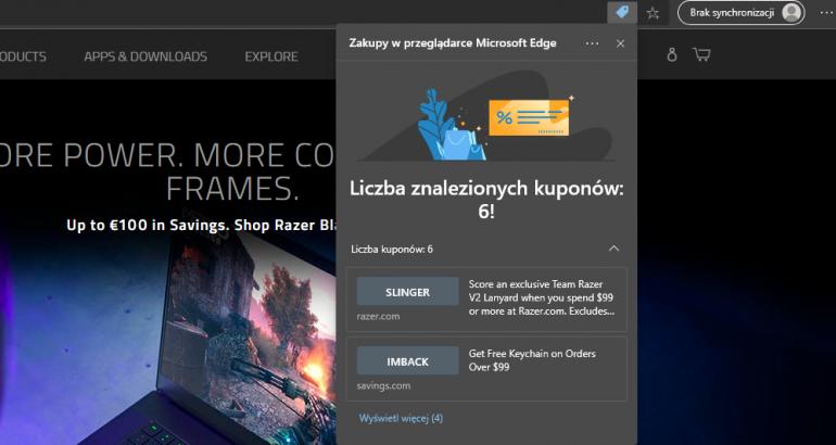 Zakupy, Microsoft Edge